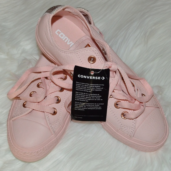 Converse All Star Lo Lux Leather Pink Leather Shoe 93cbcb6d4